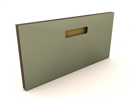 Muster 40x20  ONE_PURE_LIVING OLIVE, Griff ONE GOLD, Kante OAK BLACK (MESSING/KUPFER)